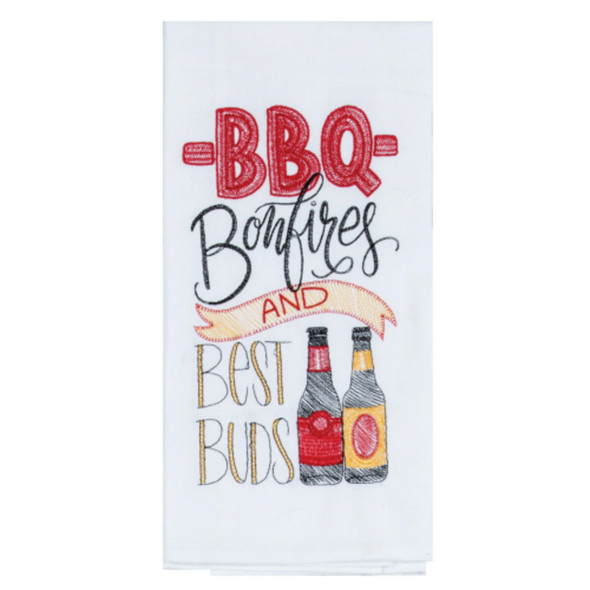 Beer, BBQ and buds- what could be better? Bold design embroidered flour sack towel gets softer each wash because it is 100% cotton. Perfect host gift for a backyard Barbecue or potluck!