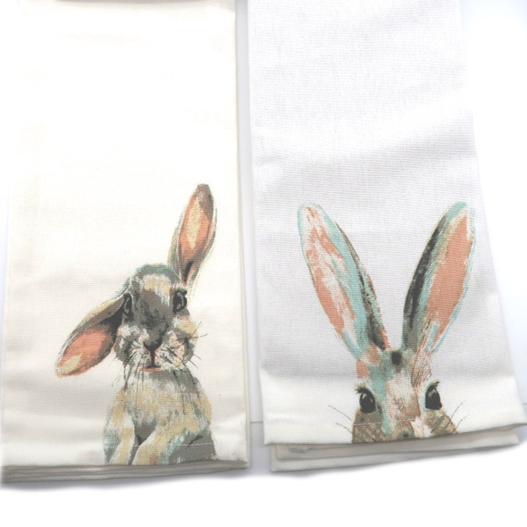 Not just for Easter, these darling bunnies are printed in beachy colors of coral, taupe, sand and grey onto 100% cotton tea towels. Use through the spring or all year long as a cozy kitchen accent. Sold individually- please specify ears up or down.