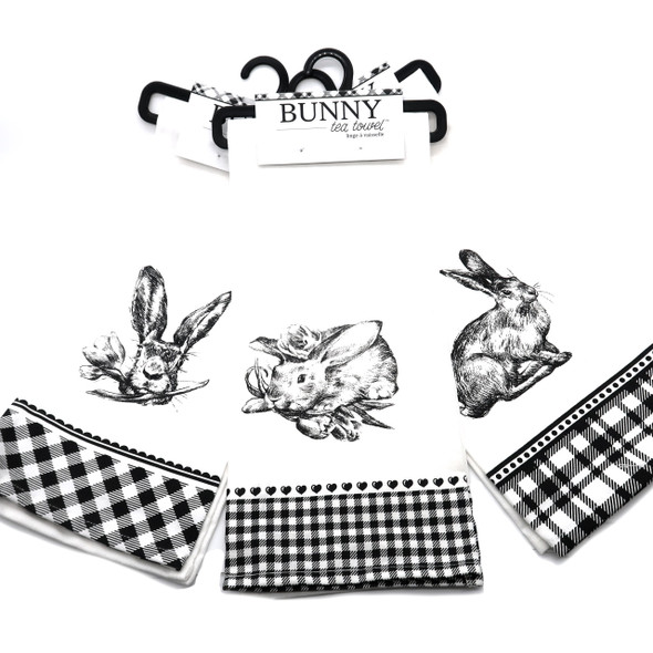 Bunny toile towels for tea! Cute black on white designs complement any decor.