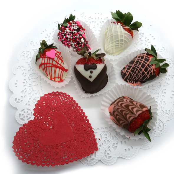 Fresh strawberries hand dipped and decorated in-house with white, milk and dark chocolate! Order by the dozen or half dozen for pickup IN-STORE ONLY.