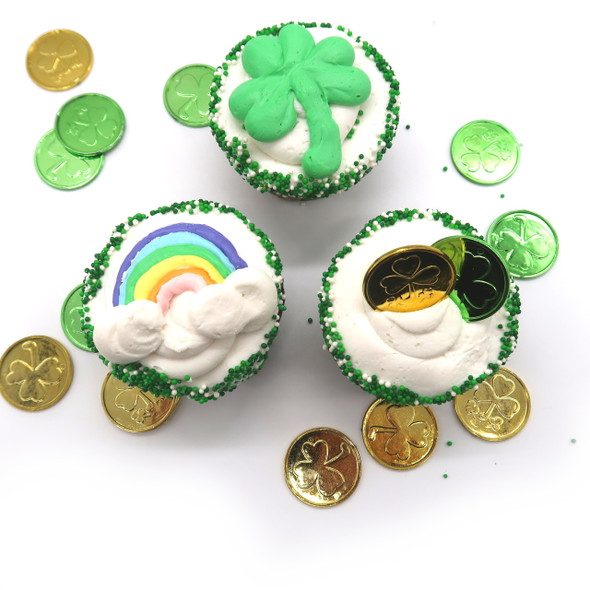 St Pat's Cupcakes with gold, shamrocks and rainbow designs