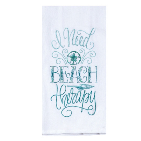 Beach Therapy Embroidered Flour Sack Towel