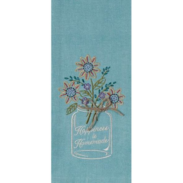 Happiness Embroidered Waffle Towel