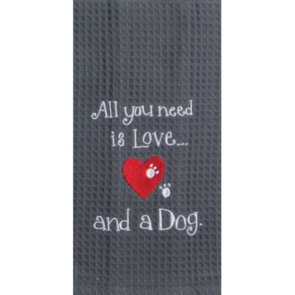 Dog Love Embroidered Waffle Towel
