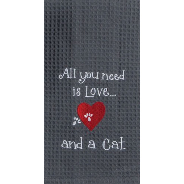 Cat Love Embroidered Waffle Towel