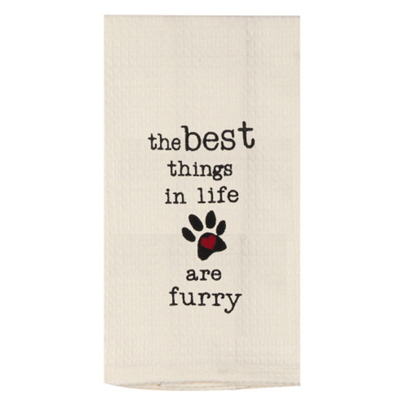 Best Things Are Furry Waffle Towel