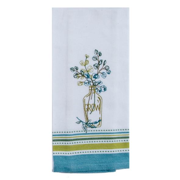 Greenery Embroidered Tea Towel