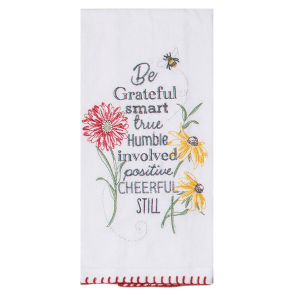 Floral Buzz Embroidered Flour Sack Towel