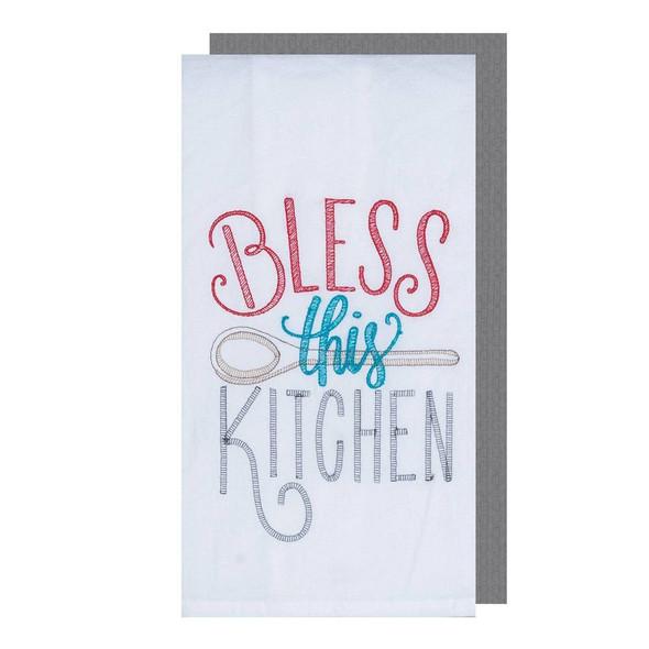 Bless Kitchen Two Piece Embroidered Flour Sack Towel Set