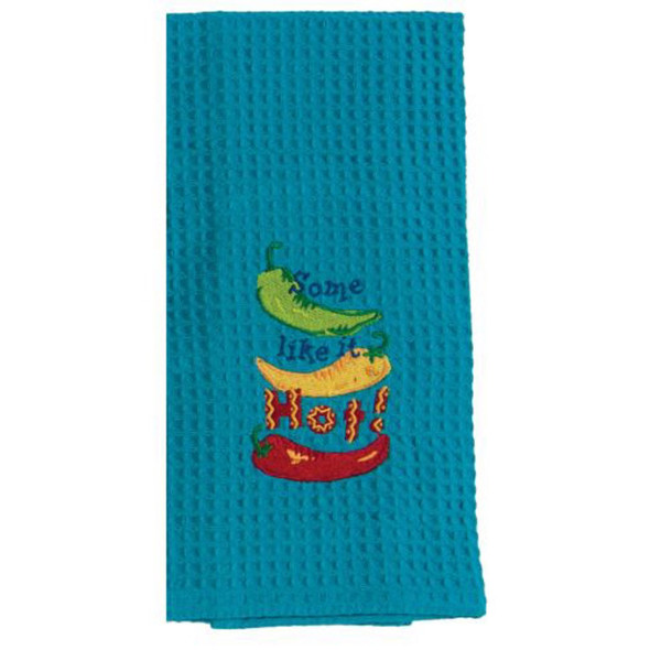 Some Like It Hot Embroidered Waffle Towel
