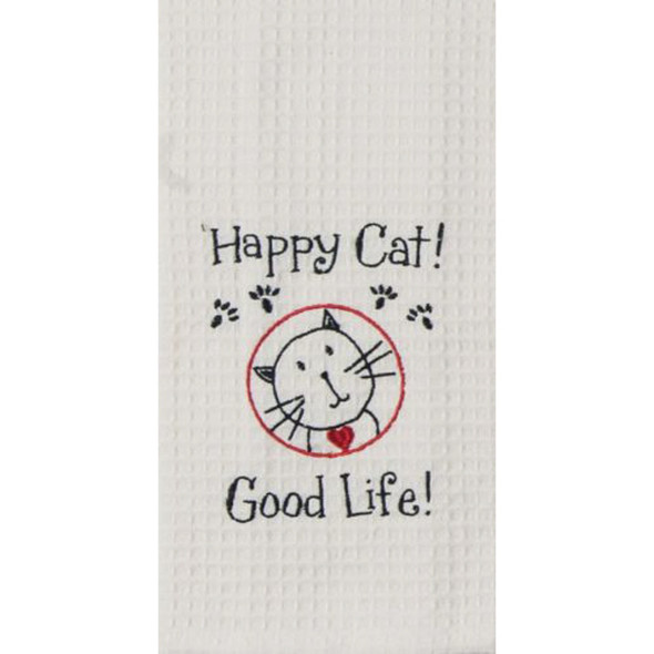 Happy Cat Embroidered Waffle Towel
