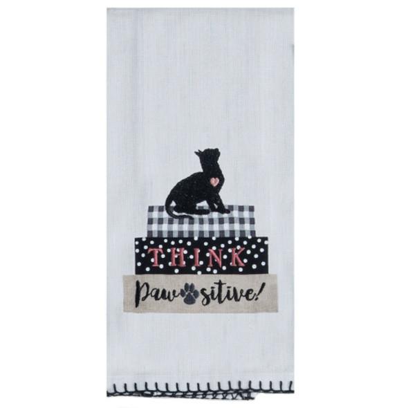 Pawsitive Embroidered Tea Towel
