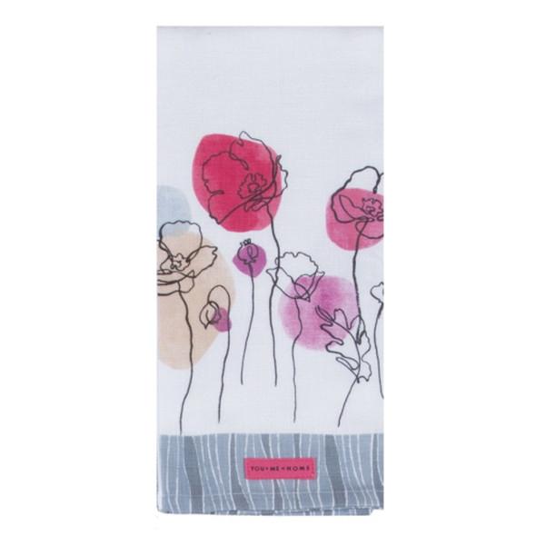 Think Pink Floral Tea Towel