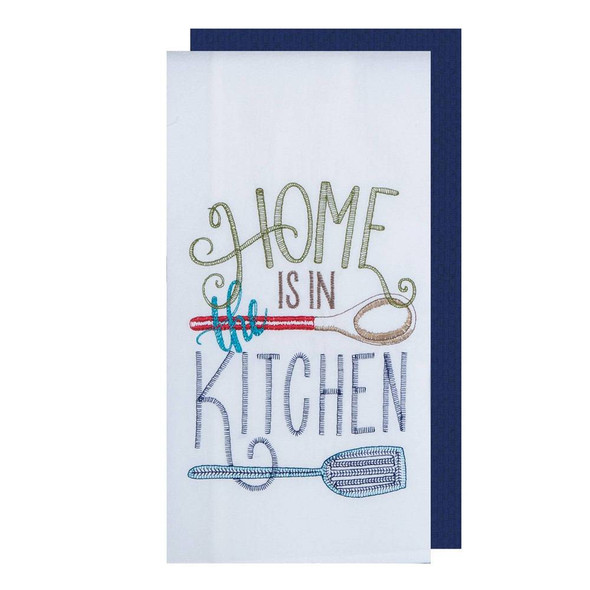 Home Kitchen Two Piece Embroidered Flour Sack Towel Set