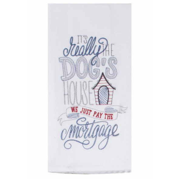 Wags Dog House Embroidered Flour Sack Towel