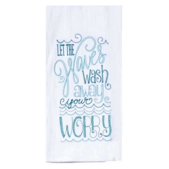 Waves Embroidered Flour Sack Towel