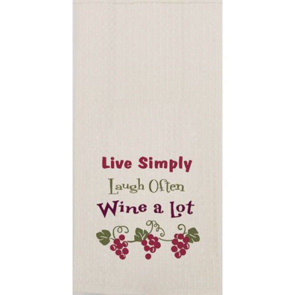 Wine A Lot Embroidered Waffle Towel