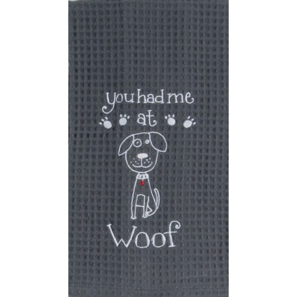 Woof Embroidered Waffle Towel