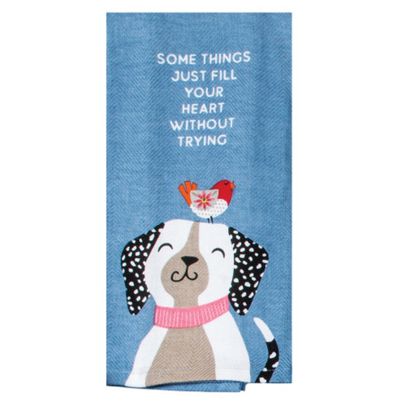 Wags Fill Heart Embroidered Tea Towel