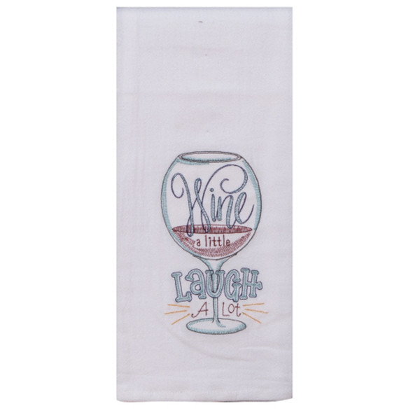 Wine A Little Embroidered Flour Sack Towel