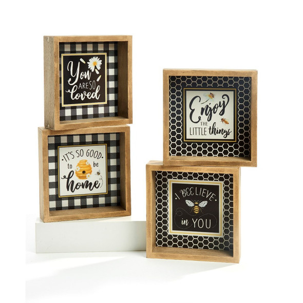 """Natural wood frame with uplifting garden bee sentiment in tones of black, white and gold are perfect pick me up for the garden or sun room. 6"""" square with buffalo check and honeycomb accents."""