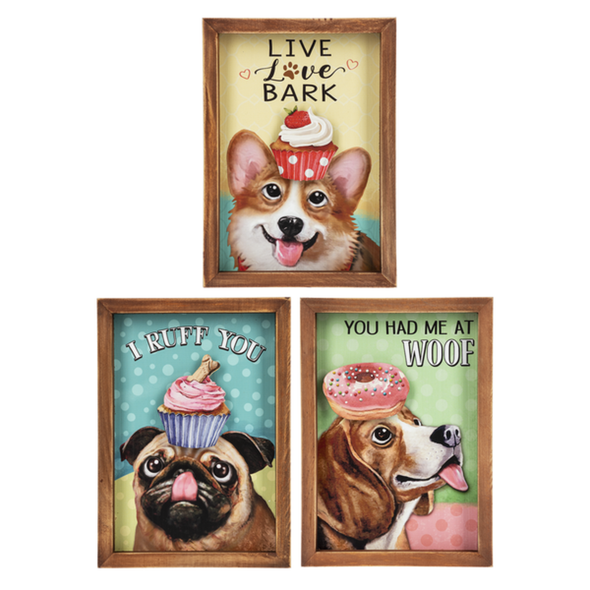 """Colorful dog characters are pictured with assorted dessert treats and humorous message. Each box plaque is 5"""" W. x 3/4"""" D. x 7"""" H. Choose dog breed: Pug (with cupcake) """"I Ruff You"""" Corgi (with cupcake) """"Live Love Bark"""" or Beagle (With Doughnut) """"You had me at Woof"""""""