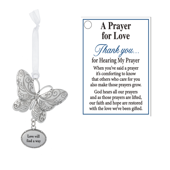 Butterfly ornament with poetic sentiment dangling below and an inspirational sentiment card.