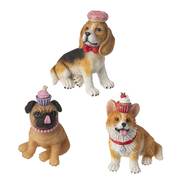 "Colorful dog character figurines are posing their favorite forbidden treat! Adorable figurines with details like pearls, bows and little tongues sticking out- Super cute!  2 3/4"" D. x 4"" H. x 3 1/2"" W. avg. Choose dog breed: Pug (with cupcake) Corgi (with cupcake)  or Beagle (With Doughnut)  (Sold individually)"