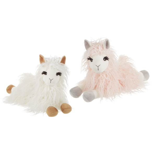 """Soft plushie Llama in pastel hues of cream or blush pink feature long eyelashes, soft shaggy fir, and contrasting colored hooves. This 15"""" long """"Mila"""" makes a darling nursery or springtime decor."""
