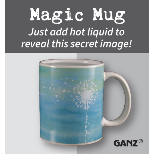 """Cool color changing 12 oz coffee mug magically changes design when a hot beverage is poured inside! """"Before"""" design is a simple and elegant black with a blowing dandelion silhouette. After pouring hot liquid inside a new design """"Dream"""" appears as a blue sky background with""""Wish"""" sentiment."""