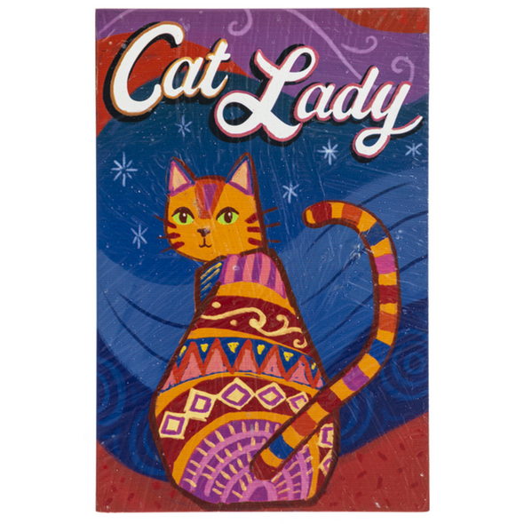 """Colorful """"Cat Lady"""" plaque announces your love for your feline companions with no judgement on the owner's mental health. Lightweight and easy to hang from a lamp switch, in a windowsill or on a doorknob. 4"""" W. x 1/4"""" D. x 6"""" H. Great gift for any pet loving collegue or friend."""