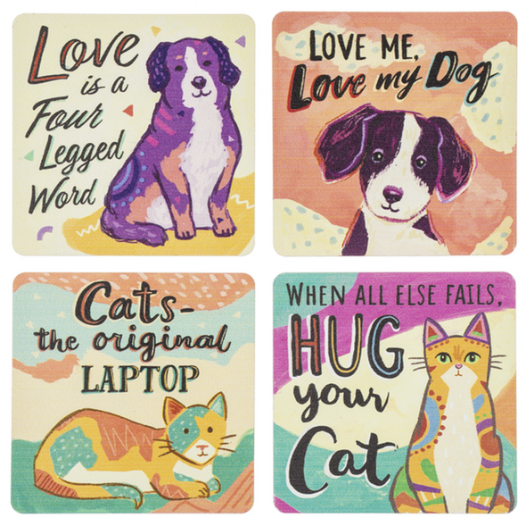 """Help proclaim your love and appreciation for your favorite pet with these big 3"""" square magnets which feature colorful art of cats and dogs wiith witty sayings."""