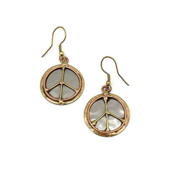 Sport a Bohemian and carefree look with these earrings which are handcrafted by artisans in India. Earrings are made of stainless steel with brass and copper. Ear wires are lead and cadmium free.