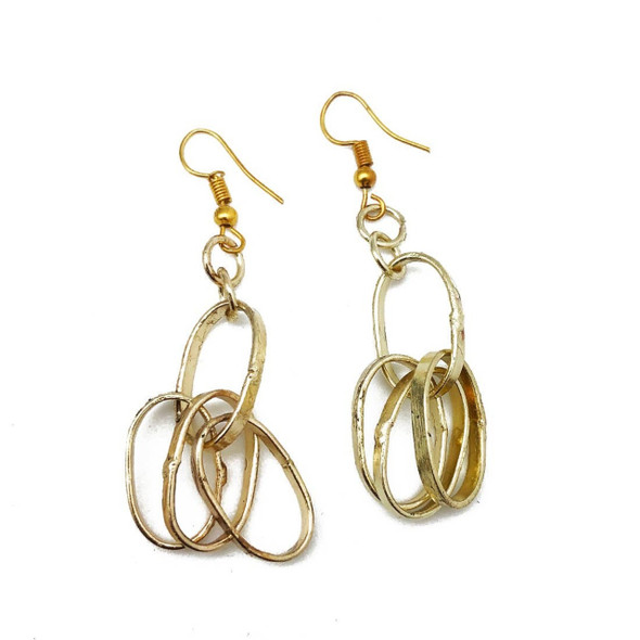 """Trendy style jearrings designed with handmade brass chains. Handmade by artisans. Ear wires are lead and cadmium free. Made in India. Chain length 1"""" FREE SHIPPING"""