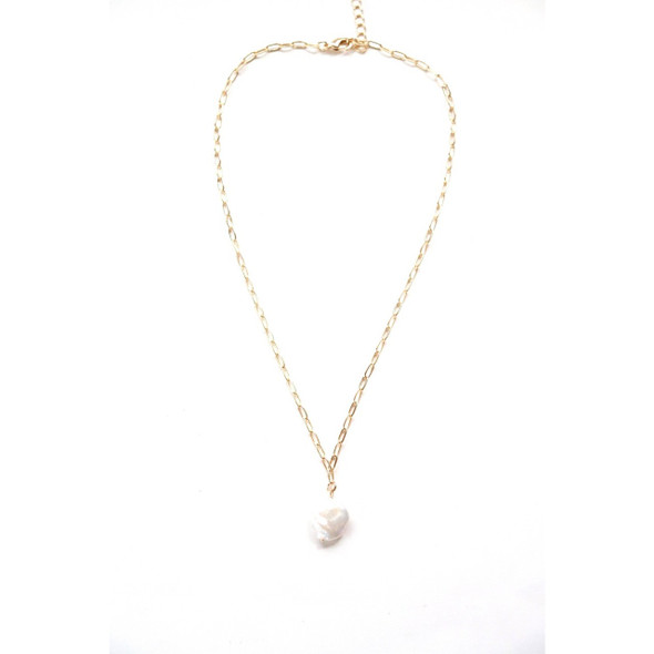 Lightweight statement chain necklace with a pearl accent, a favorite and best seller. We love to layer it up with our short gold chain necklace as well. 18K gold plated hardware Tarnish resistant processed Lobster clasp closure Measures 18.5'' in length Made in Haiti