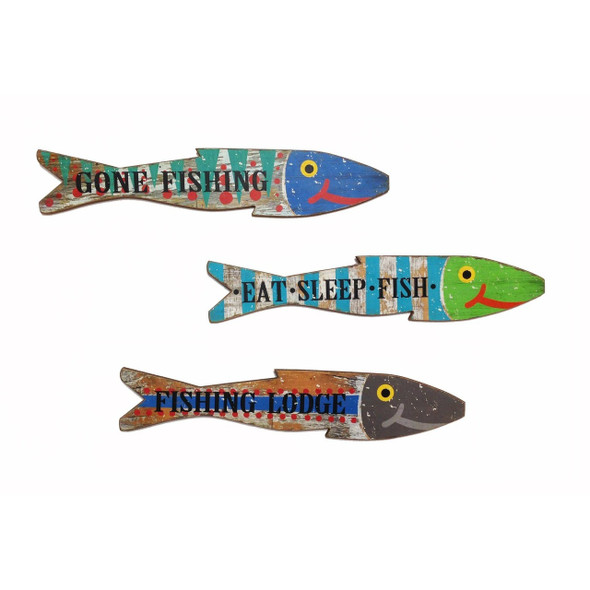 Wooden Wall Fish Set