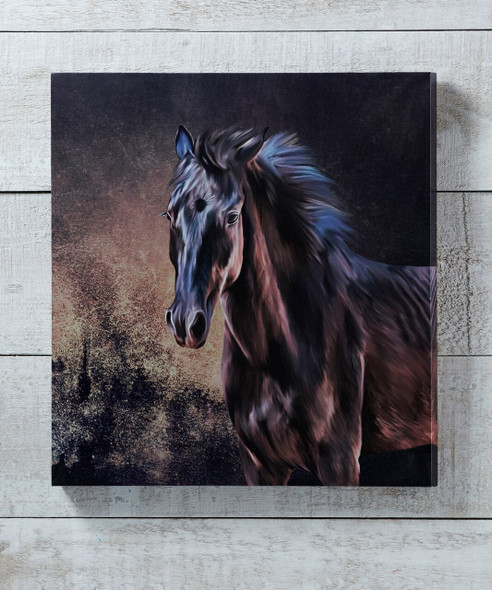 Wood Canvas Horse Print Giftcraft