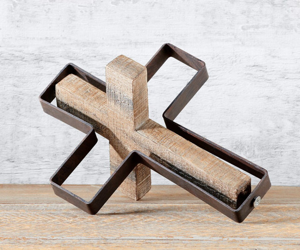 Leaning cross design table décor is a unique conversation piece!  Metal cross outline with rotating wood block design cross. Polystone, Metal. 6.8x0.9x8.7in(in)