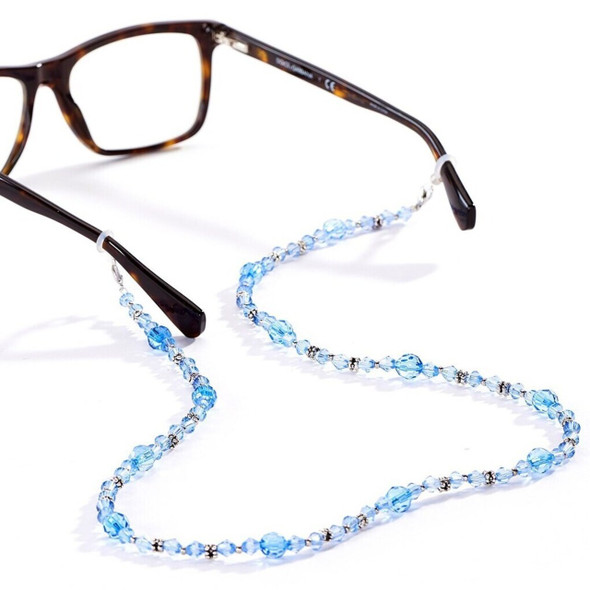 This crystal glass bead eyeglass chain, can also be used to hold your mask to avoid setting it town on a surface. Complete with a safety breakaway clasp. Available in 4 assorted colors. Choose black, pink, aqua or white/clear.  26.5in.L. Glass.