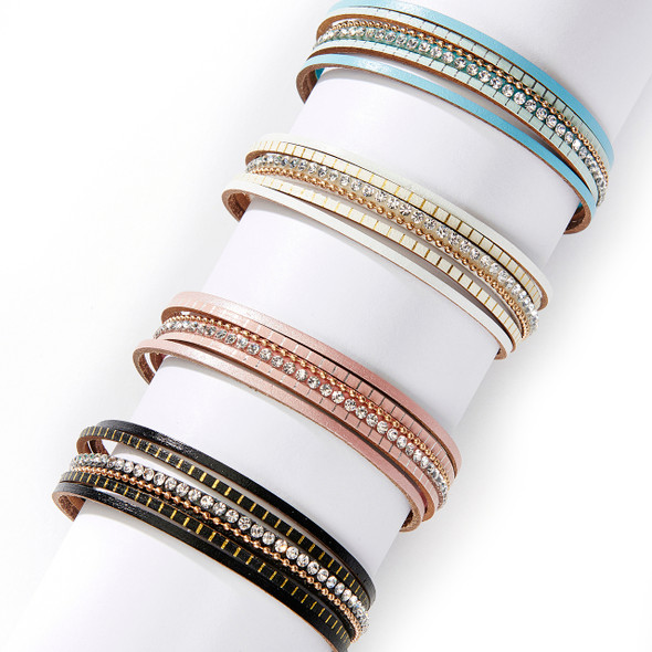 Get the multistrand look with ease with this comfy and stylish rhinestone bracelet. Choose from four different classic and spring colors. Black, White, Pink, or Blue Magnetic clasp is easy to fasten with one hand. 7""