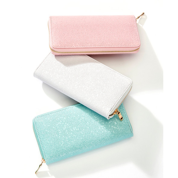 Keep cards and cash organized in this faux leather wallet with a textured finish and a zipper closure. Choose color: Pink, White, Mint Green, PU, Polyester, Metal. 7.7x3.9(in)