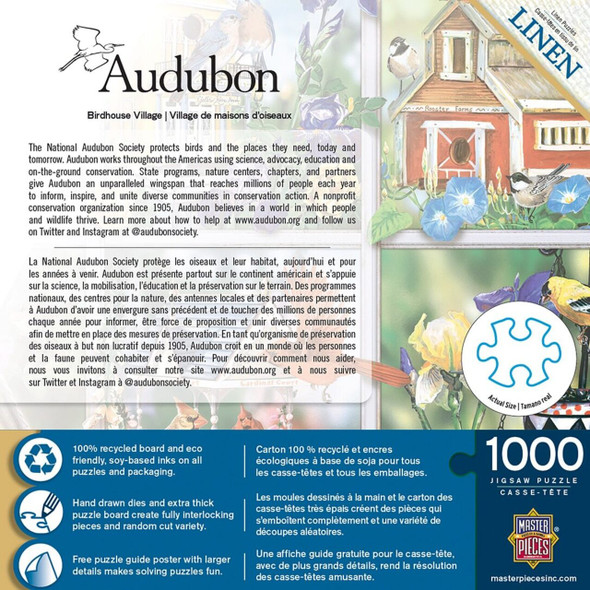 1000pc Audubon Puzzle is full of colorful beautiful songbirds of North America and sponsored by the National Audubon Society. Festive birdhouses and their colorful resident birds.