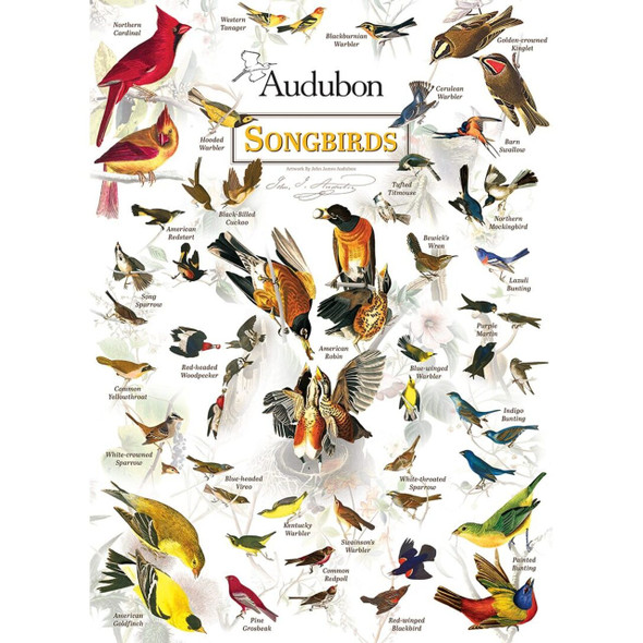 Audubon Songbirds poster puzzle helps you learn to identify North American songbirds. Beautiful illustrations.