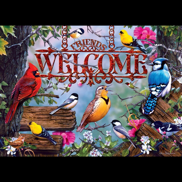"""This MasterPieces 19.25"""" x 26.75"""" 1000pc Audubon Puzzle is full of colorful beautiful songbirds welcoming home and sponsored by the National Audubon Society. To reduce its impact on our environment, the chipboard used in this puzzle is made of recycled material."""