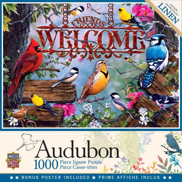 "This MasterPieces 19.25"" x 26.75"" 1000pc Audubon Puzzle is full of colorful beautiful songbirds welcoming home and sponsored by the National Audubon Society. To reduce its impact on our environment, the chipboard used in this puzzle is made of recycled material."