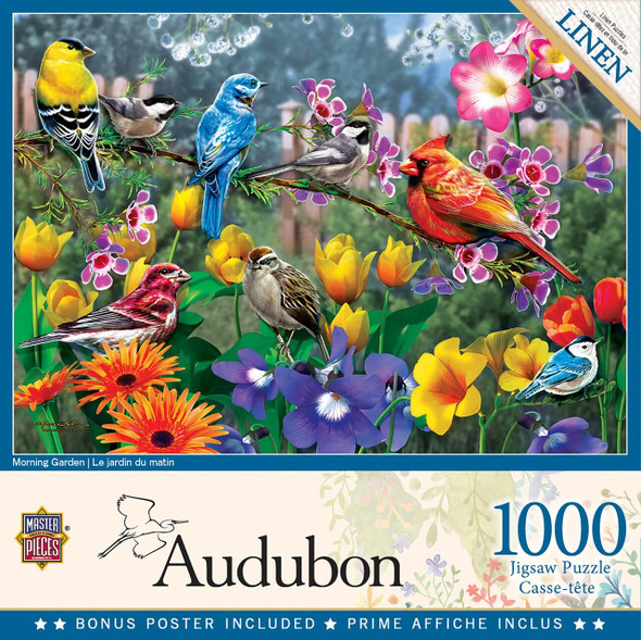 "This MasterPieces 19.25"" x 26.75"" 1000pc Audubon Puzzle is full of colorful beautiful songbirds of North America and sponsored by the National Audubon Society. Morning breaks on an active garden filled with friendly birds. To reduce its impact on our environment, the chipboard used in this puzzle is made of recycled material."
