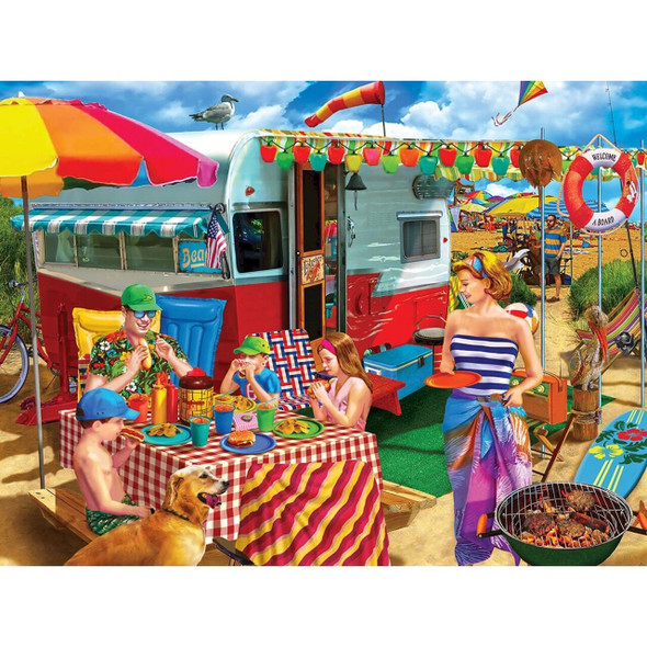 """This MasterPieces 18"""" x 24"""" 750pc Campside puzzle was painted by Lewis Johnson. Great time for a cook out at the campground on the beach with cute retro trailer. You can really imagine being there!"""