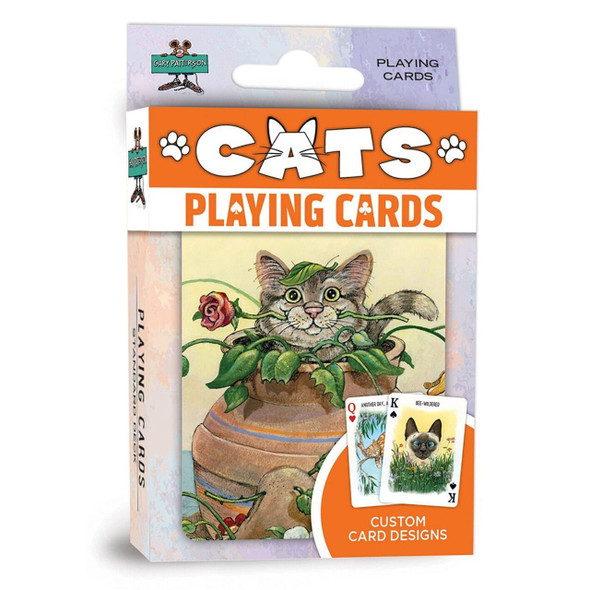 These playing cards are the perfect deck for all cat lovers! Each standard deck contains 52 cards and 2 jokers. All Cards have exclusive Gary Patterson designs of cute Cats and Kittens.