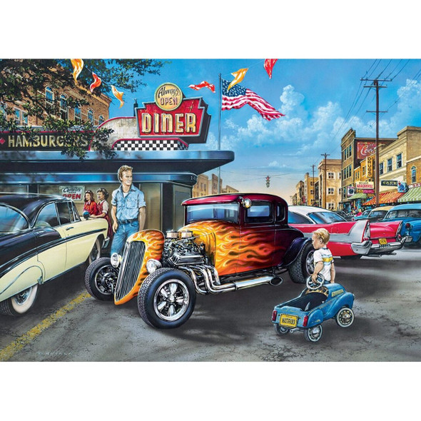 "MasterPieces 19.25"" x 26.75"" 1000pc puzzle Childhood Dreams Hot Rods and Milkshakes"