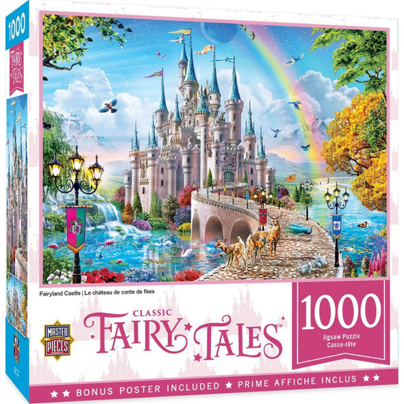 """This MasterPieces 19.25"""" x 26.75"""" 1000pc Fairytale Puzzle features A castle where fairytales do come true. To reduce its impact on our environment, the chipboard used in this puzzle is made of recycled material."""